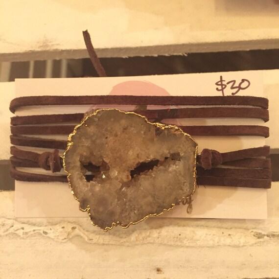 Large brown druzy wrap bracelet/choker on dark brown suede.