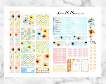 SALE 50% Mini Happy Planner Printable Kit - Sunshine Floral  / Planner Stickers / Printable Stickers / Weekly Planner Sticker Kit