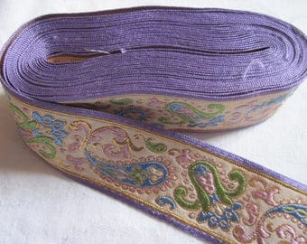 Woven Ribbon purple with gold thread, Purple Ribbon, purple border / Ribbon with Lurex gold / purple / light blue / light green