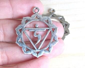 Solar Plexus Chakra, set of 5, Manipura pendant, Third chakra pendant, silver Solar chakra, seven chakras, buddhist pendant, hindu pendant