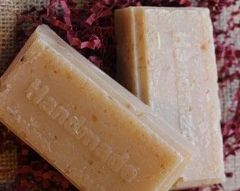 Two Bars of Handmade Honey Almond oatmeal soap, olive oil, coconut oil, soap, bar soap, honey, oatmeal, almond,Vegan soap, lye soap,