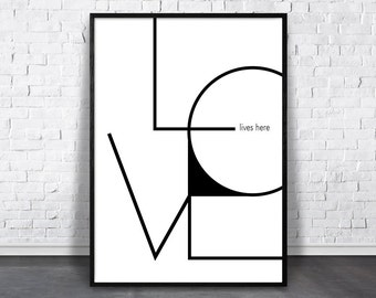 Love Lives Here, Love Print, Geometric Love Art, Printable Love, Minimalist Word, Word Wall Decor, Typography Poster, Valentines Gift Idea