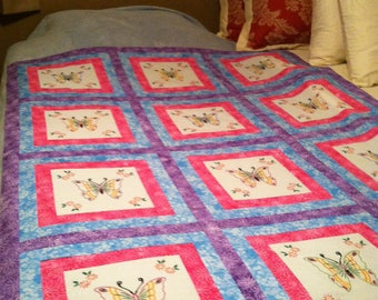 Butterfly quilt - embroidered