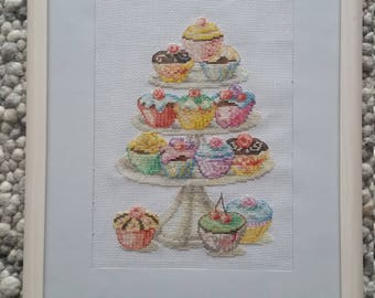 Embroidery picture of cupcakes