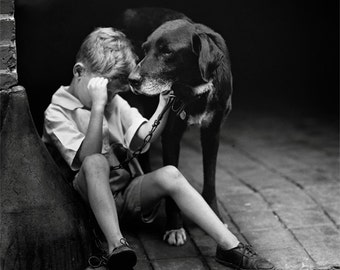 Black Lab Art, Black and White Photo, Lab and Boy, Dog Lovers Photo, Little Man Cave, Art Print, Children's Room