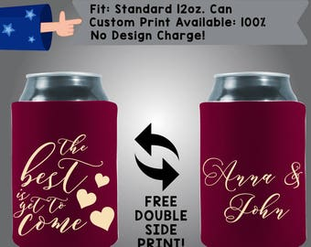 The Best Is Yet to Come Names Hearts Collapsible Fabric Wedding Can Coolers Cheap Can Coolers Wedding Favors (W308)