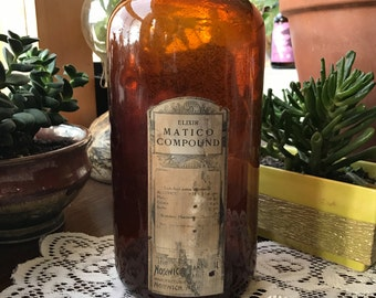 Antique Apothecary bottle, Vintage Pharmacy bottle, Brown Glass Bottle