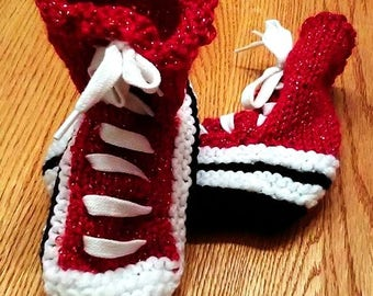 Slipper Converse-style Shiny Red, white and black