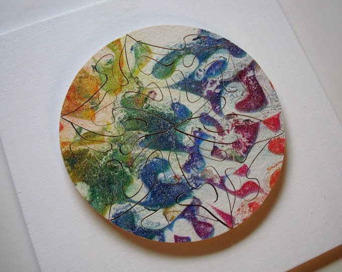 Puzzle-Art: Small mandala circle; Cell of Life, Art & Play, Sacred geometry, wooden hand-cut, acrylic on wooden pieces, by Samo Svete