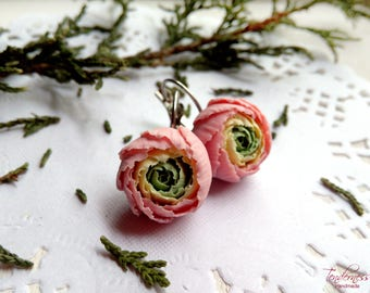 Delicate floral earrings with peonies, pastel spring colours, peony earrings, feminine jewellery, gift for her