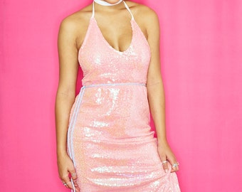 Holographic Pink Sequin Midi Dress