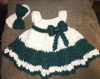 Newborn girl dress with headband