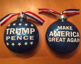 100mm 2 sided Trump Pence Christmas Ornament