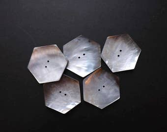 Hexagon shell buttons (x 5) approx 5cm at widest point