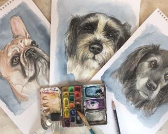 Dog portrait in watercolor technique (original)