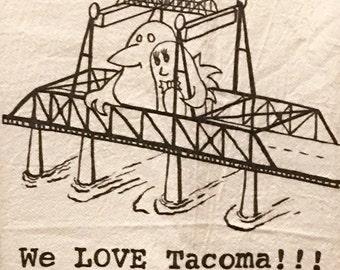 We Love Tacoma Flour Sack Towels, Tacoma, Washington, Murray Morgan Bridge, Crow, Penguin