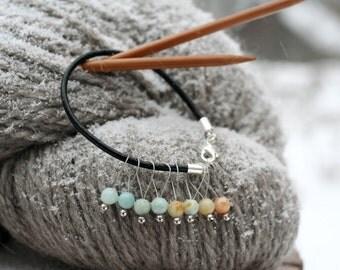 8 Amazonite knitting stitch markers on a bracelet