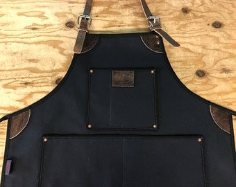 Bike Builder/Barber/Barista Canvas and Leather Apron - Black
