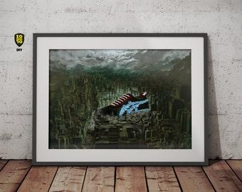 Big in Japan – Godzilla Sneaker Onitsuka Tiger Toyko digital painting by Alexander Fechner
