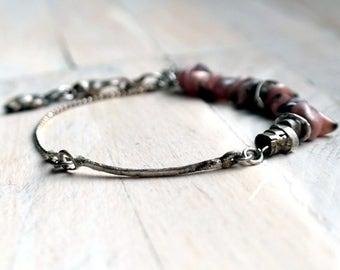 Silver Bracelet, Gemstone, Pink Bracelet, Pink Opal, handmade unique pendant silver 925 charm bracelet