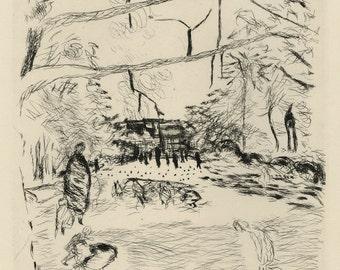 """PIERRE BONNARD (French, 1867-1947), """"Le Parc Monceau"""", 1937, original etching"""