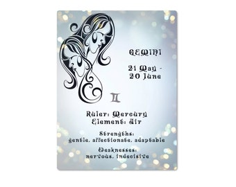 Gemini star sign horoscope astrology wall art Gemini instant digital download