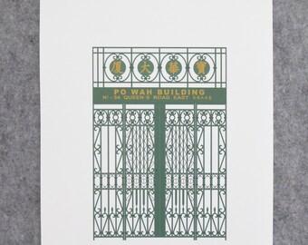 Hong Kong Doors Art Print Illustrated A3 Print by City of Detail