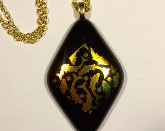 Chunky black and gold diamond fused glass pendant