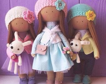 Textile doll Rag doll Baby doll Nursery doll Handmade doll Fabric doll Pink doll Cloth doll Interior doll Textile doll by Elena Merentseva