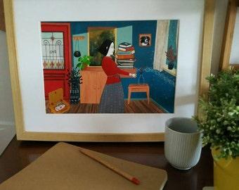 Waiting (film, digital print Giclee of original painting)