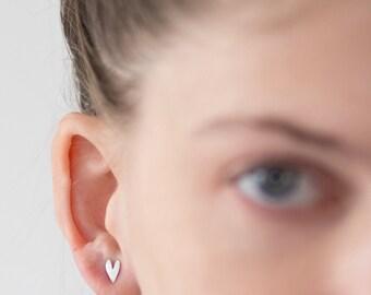 Heart Earrings, Heart Silver Earrings, Heart Stud Earrings, Love Earrings, Post Earrings, Heart Posts, Boho Silver Earrings, Heart Studs