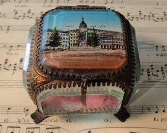 Antique French Eglomise Souvenir Jewelry Box / Casket view of Nancy c1900