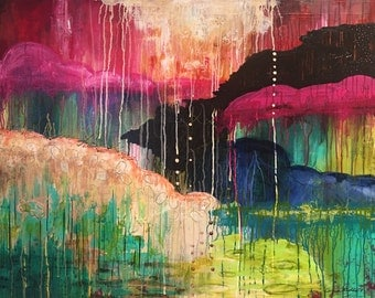 Large Abstract Landscape, Mixed Media Painting, Colorful Wall Art