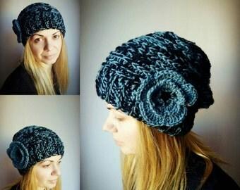 Flower Hat Denim Blue Women Hat Crochet Slouchy Hat Black Women Beanie Hat Flower Knit Hat Girls Hat Womens Accessories Winter Hat Gift