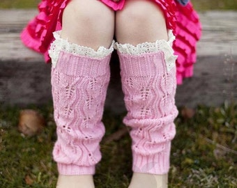 Crochet Leg Warmers or Boot Cuffs with Lace Edge - Pink