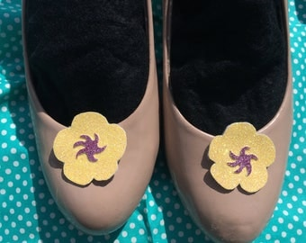 Glitter tropical flower shoe clips