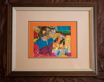 Cowboy Art Original - Western Art - Rustic Art - Multi-Media Art