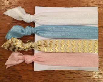 Elastic Hair Tie & Bracelet - Pastels and Gold