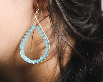 Light Blue Beaded Wire Wrapped Teardrop Earrings, Gift for Her