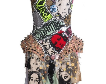 Punk Patchwork Corset Mini Dress