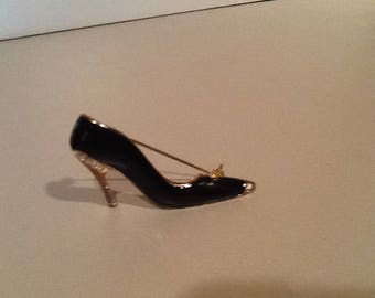Black / Rinestone / Shoe Pin / Gold Trim Acessories / Jewerly Pin