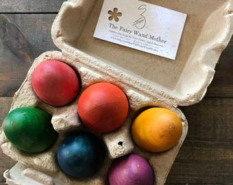 Wooden Rainbow Eggs Waldorf Natural Toys Heirloom
