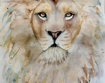 LION PAINTING - lion watercolor, animal art, lion art print, lion decor, zoo animal print