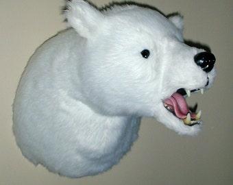 "Plush Polar Bear Head ""Thorben"" X Large Shoulder Mount"