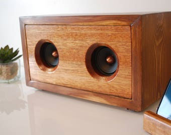 Walnut Finish Reclaimed Wood Powered Speaker Unit For 3.5mm iPhone, Android, MP3, Chromecast