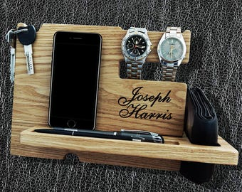 Docking Station, mens personalized, iPhone Docking Station, iphone charging, Gift for Men, iphone organizer,  iPhone dock, Mod2003A