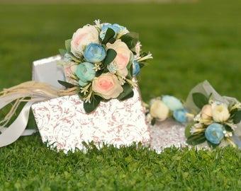 Bridal bouquet set, wedding bouquet, wedding flowers, sea effeckt bouquet, bridal flowers, rustic flowers, costem bouquet, handmade bouquet,