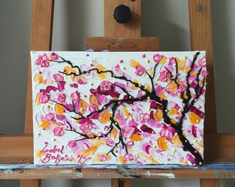 Cherry Blossoms II - Original Impasto Acrylic Painting on Canvas