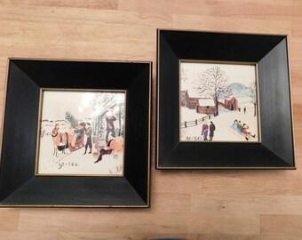 Grandma Moses framed prints 1960s