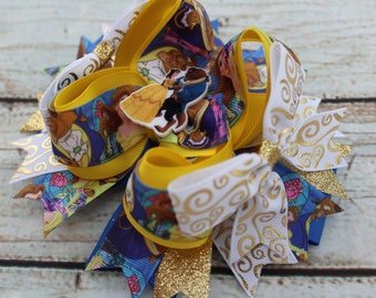 Beauty and the Beast Bow - Character Bow -Princess Belle Hair Bow large big Hair bow  beauty and the beast Hair Bow Big Bow
